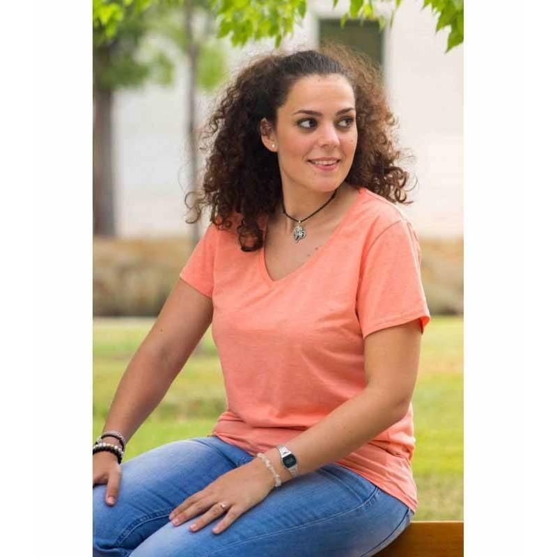 Camisetas cuello pico mujer antimosquitossalmón